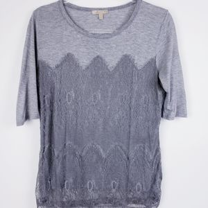 Bordeaux -Anthropologie Grey Lace Overlay T shirt